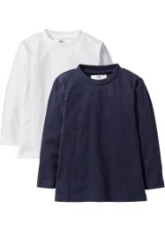 Langarmshirt (2er-Pack), bpc bonprix collection, weiss+dunkelblau
