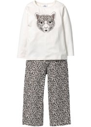 Pyjama (2-tlg. Set), bpc bonprix collection, wollweiss/schwarz