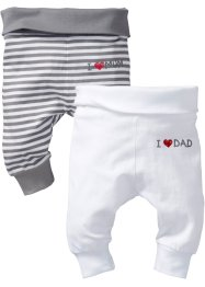 Baby-Shirthose (2er-Pack) Bio-Baumwolle, bpc bonprix collection, uni weiss/ grau/weiss gestreift