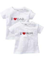 Baby-T-Shirt (2er-Pack), bpc bonprix collection, weiss bedruckt