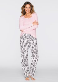Pyjama, bpc bonprix collection, hellrosa/wollweiss bedruckt