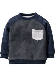 Baby Sweatshirt Bio-Baumwolle, bpc bonprix collection, anthrazit meliert/dunkelblau