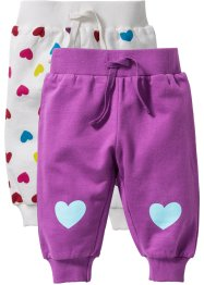 Baby-Sweathose (2er-Pack) Bio-Baumwolle, bpc bonprix collection, wollweiss/beere