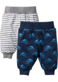 Baby-Shirthose (2er-Pack) Bio-Baumwolle, bpc bonprix collection, dunkelblau/weiss/grau
