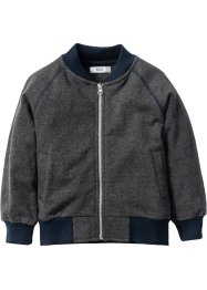 Sweatjacke, bpc bonprix collection, anthrazit meliert/dunkelblau