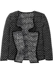 Drapierter Cardigan, bpc bonprix collection, schwarz/wollweiss meliert