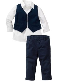 Baby Hemd + Weste + Hose (3-tlg. Set), bpc bonprix collection, weiss/dunkelblau