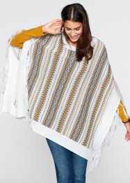Strick-Poncho, bpc bonprix collection, wollweiss gemustert
