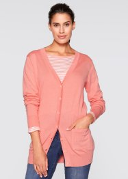 Long-Strickjacke, bpc bonprix collection, lachsrosa