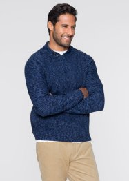 Pullover Schalkragen Regular Fit, bpc bonprix collection, dunkelblau meliert