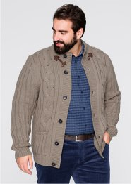 Strickjacke m. Zopfmuster Regular Fit, bpc bonprix collection, taupe