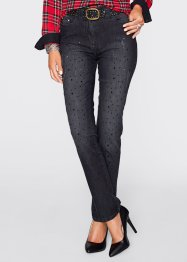 Stretchjeans mit Applikation, bpc selection premium, black stone