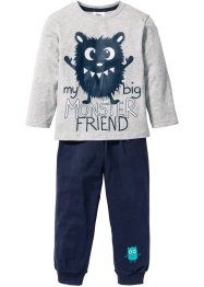 Pyjama (2-tlg. Set), bpc bonprix collection, hellgrau meliert/dunkelblau
