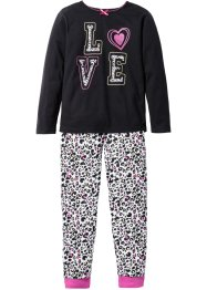 Pyjama (2-tlg. Set), bpc bonprix collection, schwarz/weiss
