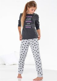 Pyjama (2-tlg. Set), bpc bonprix collection, anthrazit meliert/hellgrau meliert