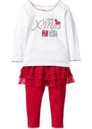 Baby Langarmshirt  + Leggings mit Tutu (2-tlg. Set) Bio-Baumwolle, bpc bonprix collection, wollweiss/rot