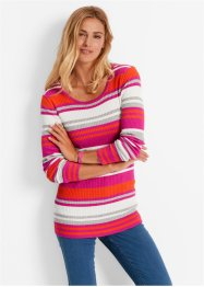 Rundhals-Pullover, bpc bonprix collection, mittelfuchsia gestreift
