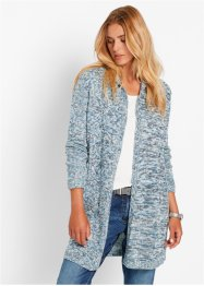 Langarm-Longstrickjacke, bpc bonprix collection, wollweiss meliert