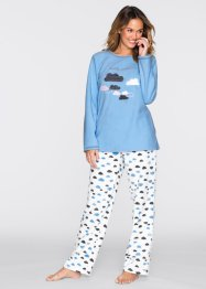 Fleece-Pyjama, bpc bonprix collection, hellblau/wollweiss bedruckt