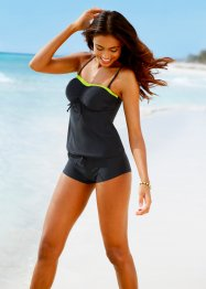 Tankini Oberteil, bpc bonprix collection, schwarz/neongelb