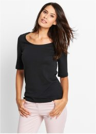 Basic Baumwollshirt Rib-Jersey, bpc bonprix collection, schwarz