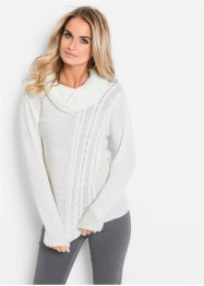 Pullover mit Zopfmuster, bpc selection, wollweiss