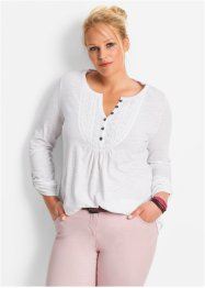 Flammgarn-Shirt, bpc bonprix collection, weiss