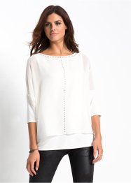 Blusenshirt mit Strassapplikation, BODYFLIRT, wollweiss