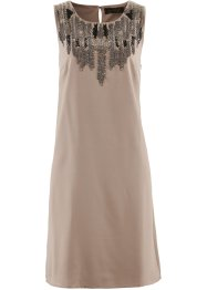 Chiffonkleid mit Stickerei, bpc selection, taupe