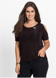 Cut-Out-Shirt mit Lurex, BODYFLIRT, schwarz/rot