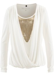 Shirtbluse mit Pailletten, bpc selection, wollweiss/gold