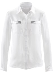 Bluse mit Pailletten, bpc selection, wollweiss/silber
