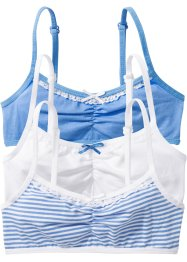 Bustier (3er-Pack), bpc bonprix collection, mittelblau/weiss