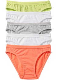 Slip (5er-Pack), bpc bonprix collection, weiss/mintgrün/lachs/hellgrau meliert