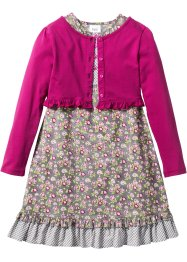 Kleid + Shirtjacke (2-tlg. Set), bpc bonprix collection, mattsilber/rosa/fuchsia geblümt