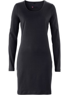 Basic Baumwollshirt Stretch-Jersey, bpc bonprix collection, schwarz