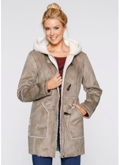 Duffle-Coat, bpc bonprix collection, taupe/wollweiss