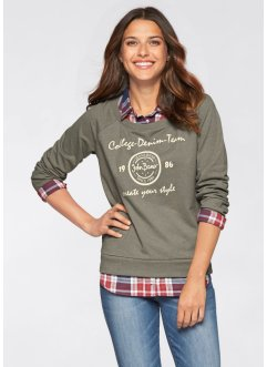 Sweatshirt mit 2-in-1-Optik, John Baner JEANSWEAR, oliv