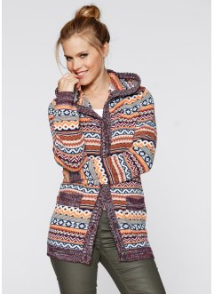 Strickjacke mit Kapuze, bpc bonprix collection, schwarz meliert