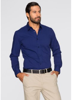 Herren Stretch-Hemd, Slim Fit, bpc selection, mitternachtsblau