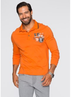 Langarmpoloshirt Regular Fit, bpc selection, orange