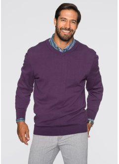 V-Pullover, Regular Fit, bpc selection, weinbeere
