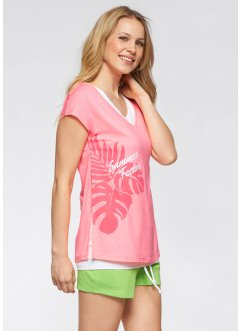 T-Shirt mit Top, 2-teiliges Set, bpc bonprix collection, neonrosa/weiss
