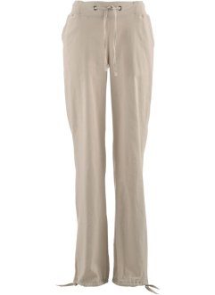 Leinen-Hose mit Rippbund, bpc bonprix collection, nude