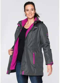 3-in-1-Outdoor-Langjacke, bpc bonprix collection, anthrazit/violettorchidee