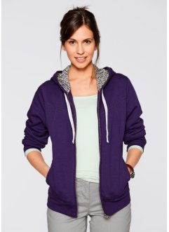 Sweatjacke mit Kapuze, bpc bonprix collection, dunkellila