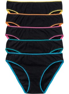 Slip (5er-Pack), bpc bonprix collection, schwarz/bunt