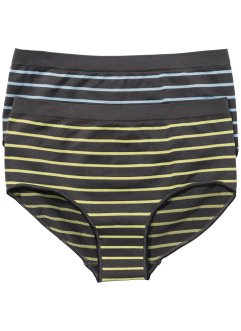 Seamless Hipster (2er-Pack), bpc bonprix collection, grau/blau/gelb gestreift