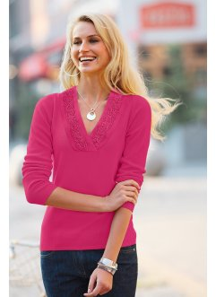 Pullover mit Spitze, bpc selection, rotebeete
