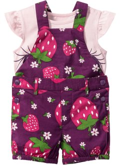 Baby-T-Shirt +  Latzhose (2-tlg. Set), bpc bonprix collection, veilchenlila/zartrosa